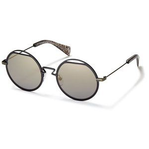 Yohji Yamamoto YY7012 Black/Grey Round Sunglasses